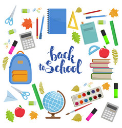 back to school circle shape template vector image