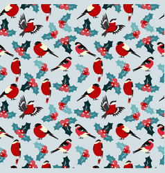 Seamless christmas pattern with leaves berries vector