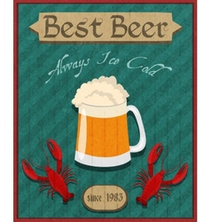 Crawfish and beer retro poster vector