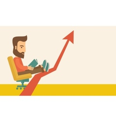 Man relaxing in growing business vector