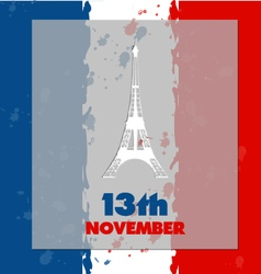 Eiffel tower icon in flag background vector