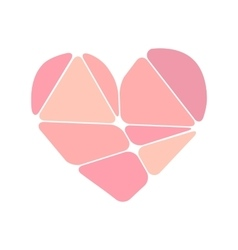 Pink heart symbol made up of abstract forms vector