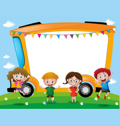 Background template with school kids vector