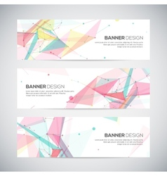 Banners set with polygonal abstract shapes vector