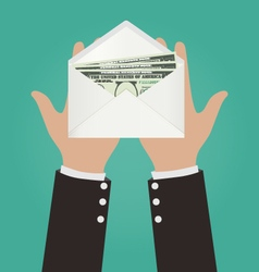 Businessman hands giving envelope with money vector