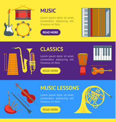 cartoon musical insrtuments banner horizontal set vector image