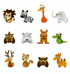 cartoon wild animal set vector image vector image