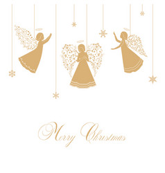 christmas angels with ornamental wings vector image