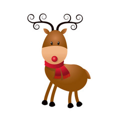 Christmas cute reindeer scarf standing animal vector