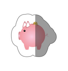colorful silhouette sticker of money box in shape vector image