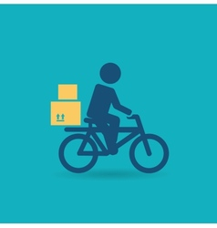 courier rides a bicycle icon vector image vector image