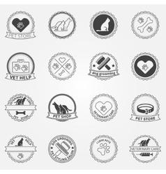 Dog ans cats black logos and badges vector