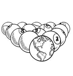 doodle billiard pool earth vector image