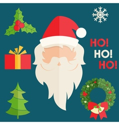 Flat design of Santa Claus with christmas vector image vector image