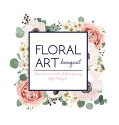 floral card design garden flower pink peach rose vector image vector image