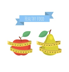 Fresh red apple and green pear with measuring tape vector image