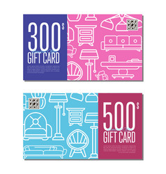 Gift card linear set for living room furniture vector