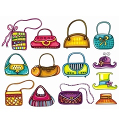 handbag purses and hats vector image vector image