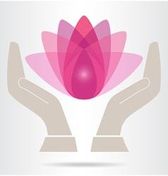 Hands and lotus flower icon vector
