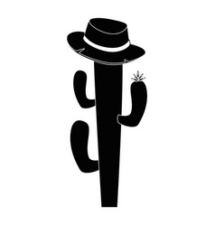 Isolated cactus with hat vector