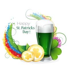 Leprechaun beer with coins vector image vector image
