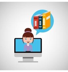 Library education online design girl vector
