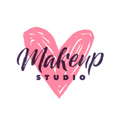 makeup studio logo stroke pink heart vector image