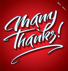 Many thanks hand lettering vector