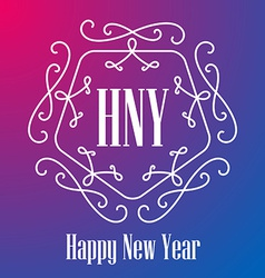 New Year festive Card monograms style Lineart vector image vector image