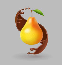 Pear realistic fruit in chokolate splash vector