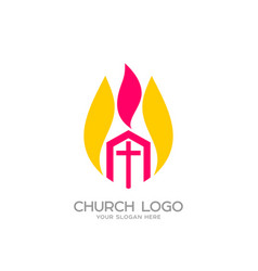 The church of christ and the flame vector