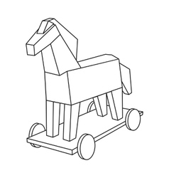 Trojan horse icon in outline style isolated on vector image
