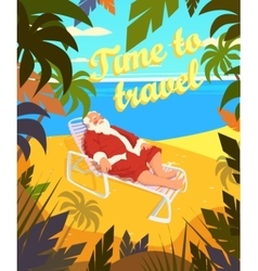 Tropical beach sun summer santa claus holiday vector