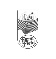 Vertical farm fireld logo badge label design vector