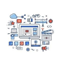 Video production media digital marketing clip vector