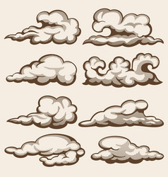 vintage engraving clouds hand drawn set vector image vector image