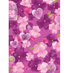 Violet valentine background with flowers and vector