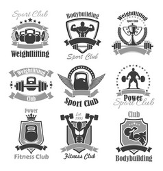 weightlifting fitness gym sport club icons vector image vector image