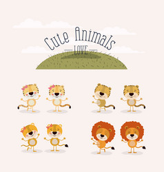 White background with grass and set cute animals vector