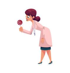 Woman doctor pediatrician giving lollipop candy vector