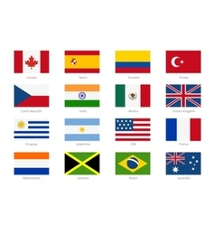 world flags in flat style vector image vector image