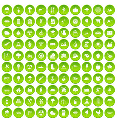 100 travel time icons set green circle vector