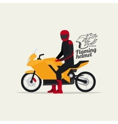 Biker with motorcycle and logo vector