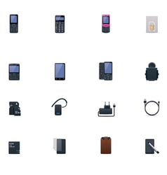 Cell phones and accessories icon set vector