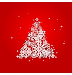 Christmas and new years red background with tree vector