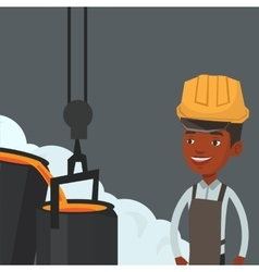 Steelworker in hardhat at work in the foundry vector