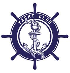 Anchor and wheel emblem sign symbol vector
