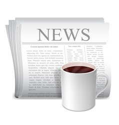 Newspaper and coffee cup vector image