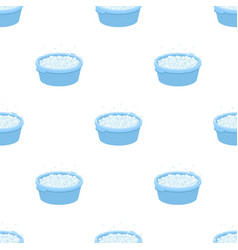 Basin with soap suds and water icon in cartoon vector