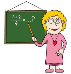 Female maths teacher vector